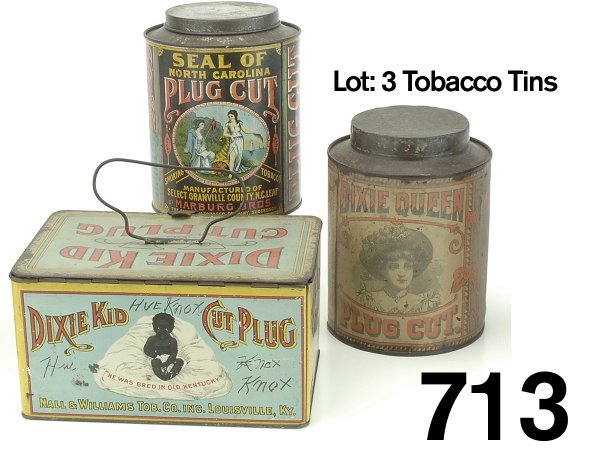 713: Lot: 3 Tobacco Tins