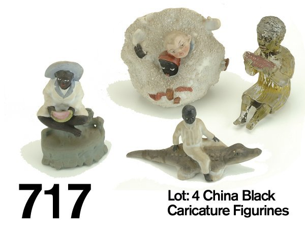 717: Lot: 4 China Black Caricature Figurines