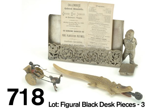 718: Lot: Figural Black Desk Pieces - 3