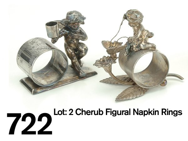 722: Lot: 2 Cherub Figural Napkin Rings