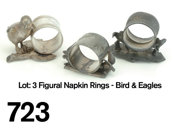 723: Lot: 3 Figural Napkin Rings-Bird & Eagles