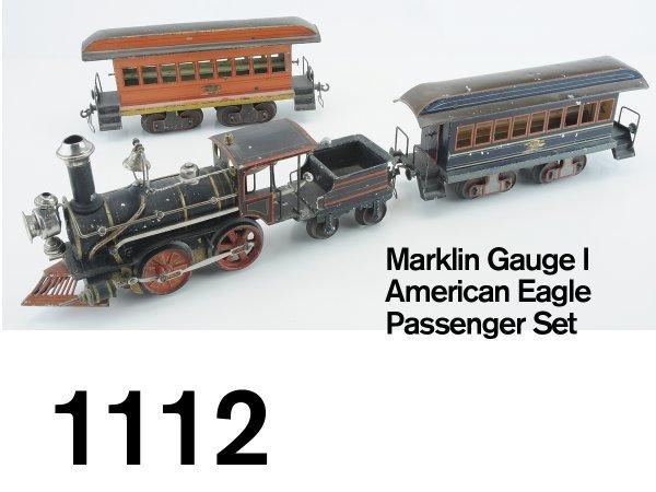 1112: Marklin Gauge I American Eagle Passenger Set