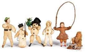 Six spun cotton Christmas ornaments