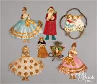 Seven Victorian scrap Christmas ornaments