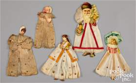 Victorian scrap and cotton Christmas ornaments