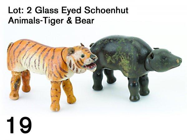 19: Lot: 2 Glass Eyed Schoenhut Animals-Tiger & Bear