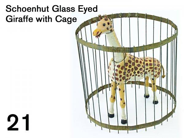21: Schoenhut Glass Eyed Giraffe with Cage
