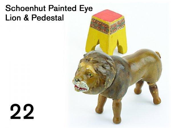 22: Schoenhut Painted Eye Lion & Pedestal