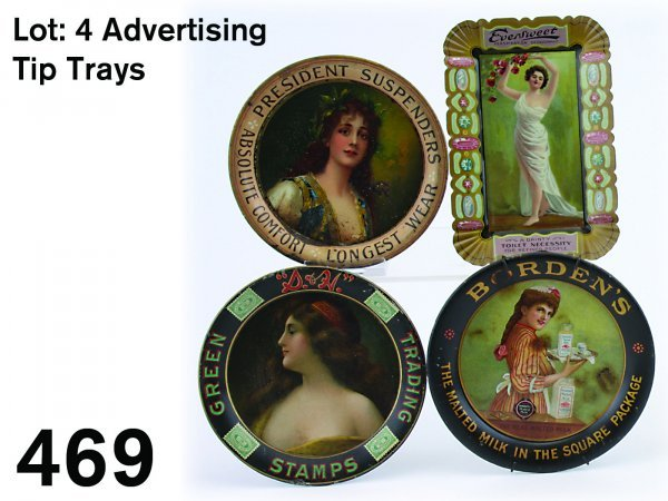 469: Lot: 4 Advertising Tip Trays