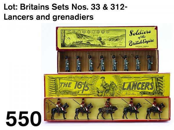 550: Lot: Britains Sets Nos. 33 & 312- Lancers and gren