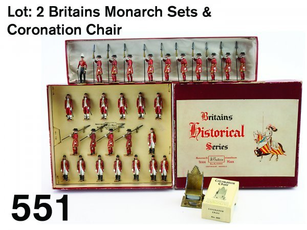 551: Lot: 2 Britains Monarch Sets & Coronation Chair