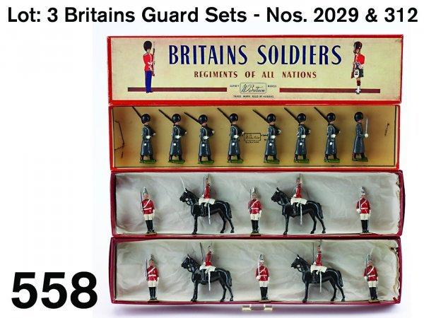 558: Lot: 3 Britains Guard Sets - Nos. 2029 & 312