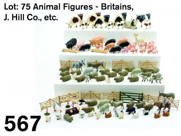 567: Lot: 75 Animal Figures - Britains, J. Hill Co., et
