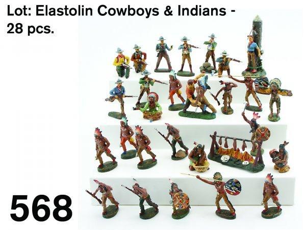 568: Lot: Elastolin Cowboys & Indians - 28 pcs.
