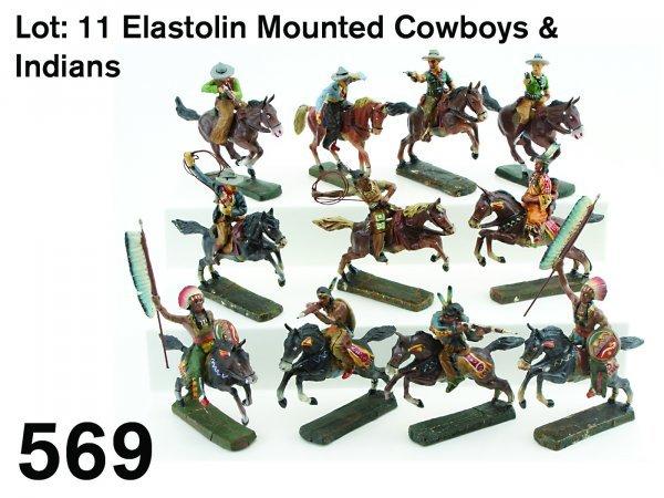 569: Lot:  11 Elastolin Mounted Cowboys & Indians