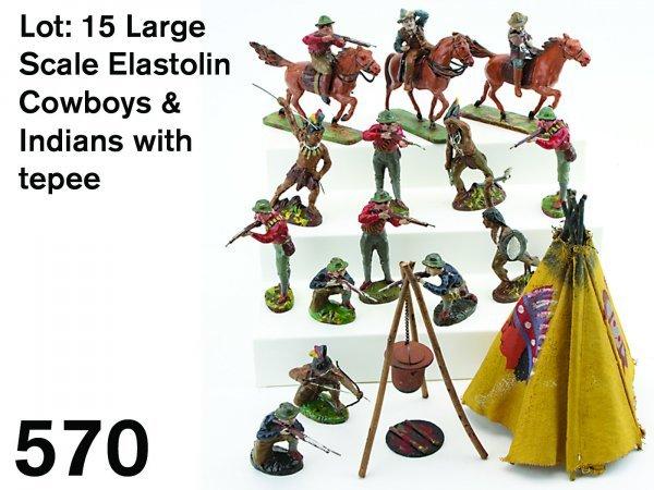 570: Lot: 15 Large Scale Elastolin Cowboys & Indians wi