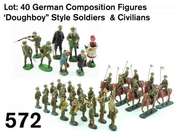 """572: Lot: 40 German Composition Figures 'Doughboy"""" Styl"""