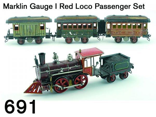 691: Marklin Gauge I Red Loco Passenger Set