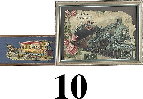 10: Lot: 2 Colorful Advertising Pieces with Train and H