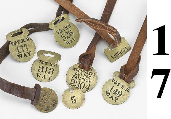 17: Lot: 8 Brass luggage/mail bag tags