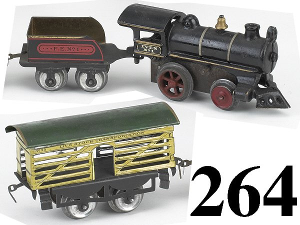 264: Ives O Gauge #1 Loco, Tender & Stock Car