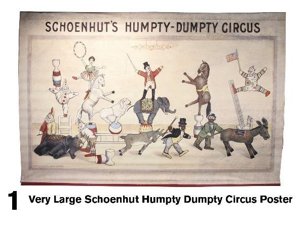 1: Very Large Schoenhut Humpty Dumpty Circus Poster