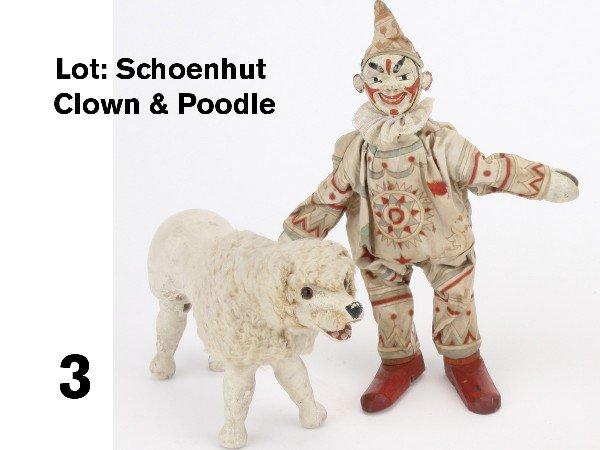 3: Lot: Schoenhut Clown & Poodle