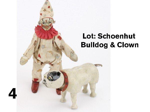 4: Lot: Schoenhut Bulldog & Clown