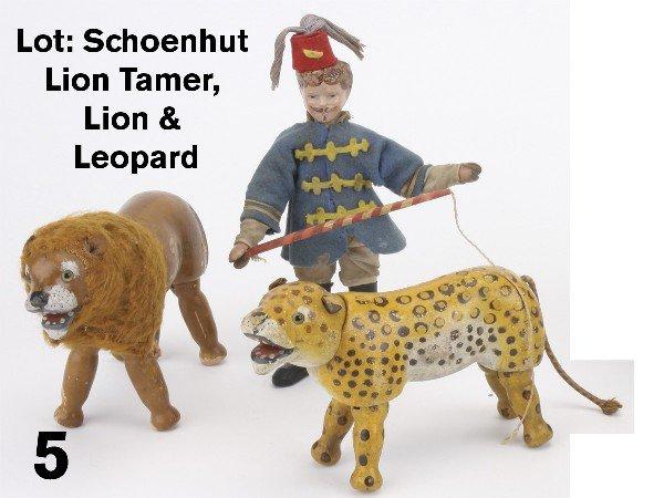 5: Lot: Schoenhut Lion Tamer, Lion & Leopard