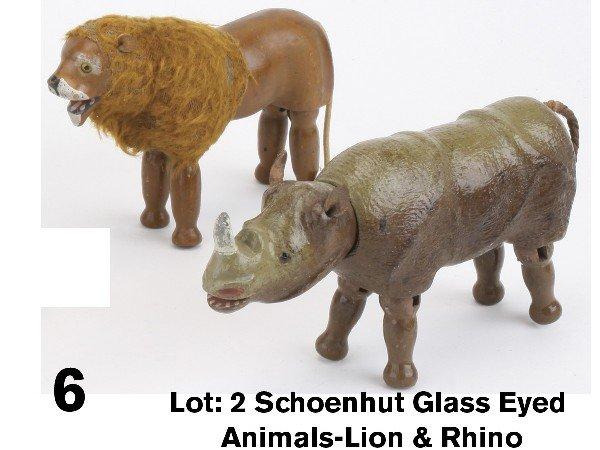 6: Lot: 2 Schoenhut Glass Eyed Animals-Lion & Rhino