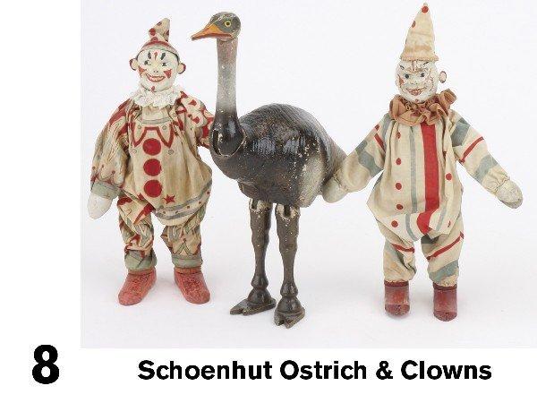8: Schoenhut Ostrich & Clowns
