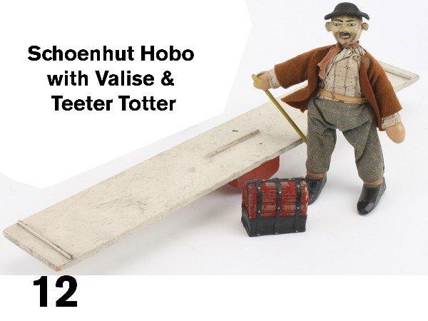 12: Schoenhut Hobo with Valise & Teeter Totter
