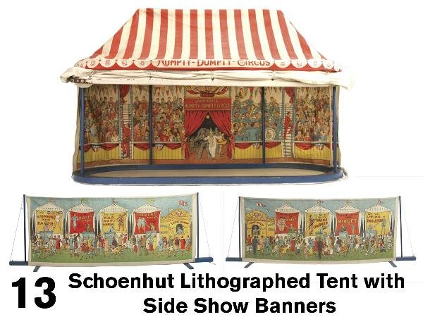 13: Schoenhut Lithographed Tent with Side Show Banners