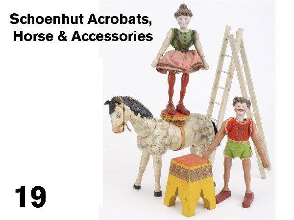 19: Schoenhut Acrobats, Horse & Accessories
