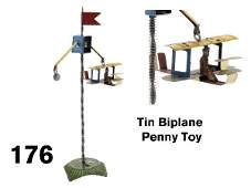 176 Tin Biplane Penny Toy