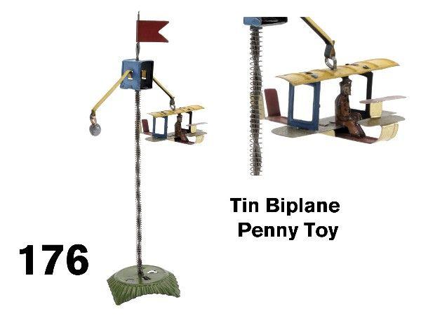 176: Tin Biplane Penny Toy
