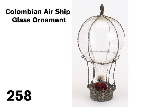 258: Colombian Air Ship Glass Ornament