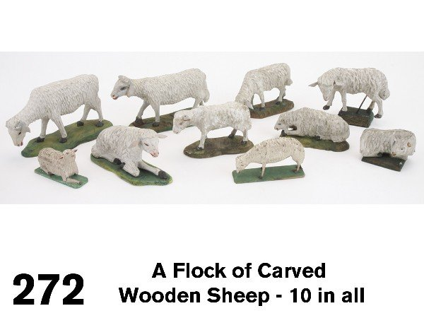 272: A Flock of Carved Wooden Sheep - 10 in all