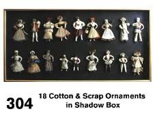 304 18 Cotton  Scrap Ornaments in Shadow Box