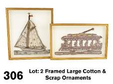 306 Framed Large Cotton  Scrap Ornaments