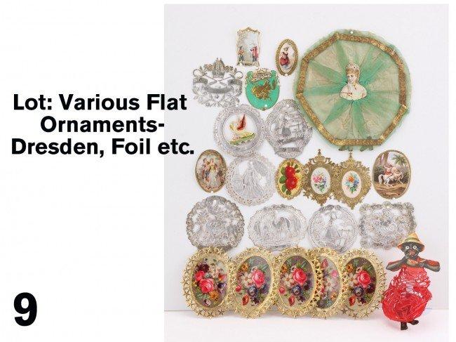9: Lot: Various Flat Ornaments-Dresden, Foil etc.