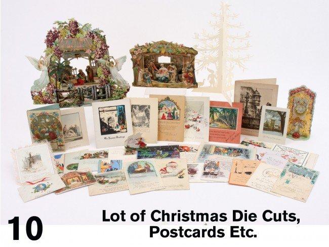 10: Lot of Christmas Die Cuts, Postcards Etc.
