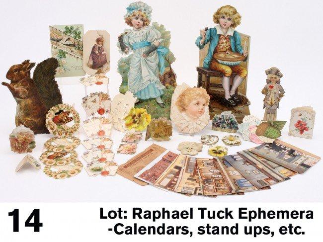 14: Lot: Raphael Tuck Ephemera-Calendars, stand ups, et
