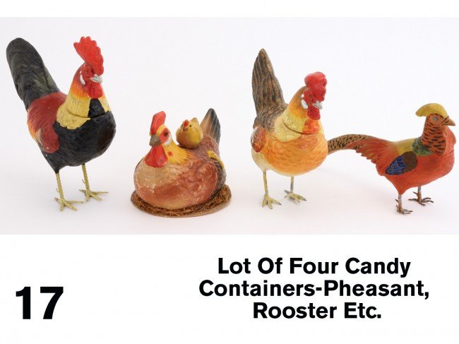 17: Lot Of Four Candy Containers-Pheasant, Rooster Etc.