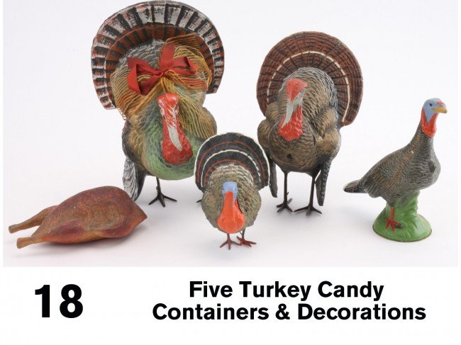 18: Lot: Five Turkey Candy Containers & Decorations