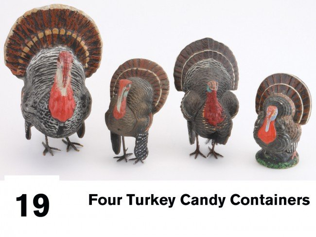 19: Lot of Four Turkey Candy Containers