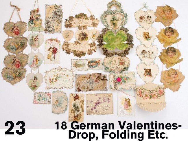 23: Eighteen German Valentines-Drop, Folding Etc.
