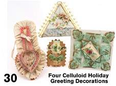 30 Four Celluloid Holiday Greeting Decorations