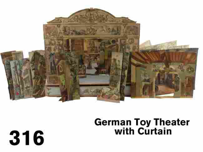 316: German Toy Theater with Curtain