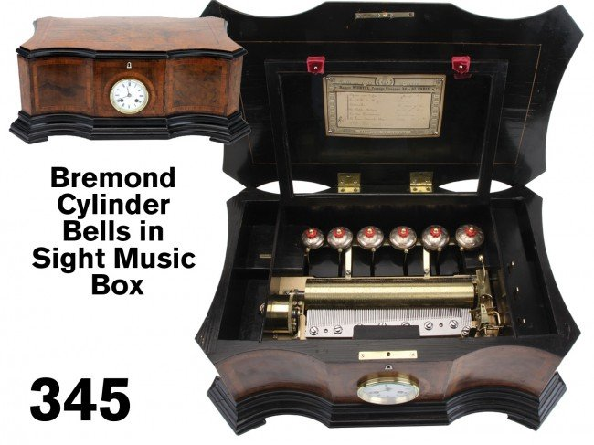 345: Bremond Cylinder Bells in Sight Music Box